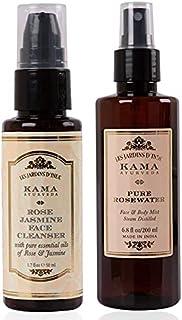 Kama Ayurveda Rose Jasmine Face Cleanser, 50ml & Kama Ayurveda Pure Rose Water Face and Body Mist, 6.7 Fl Oz
