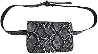 TOOGOO Snake Print Pu Leather Flap Waist Bag Women Small Leather Serpentine Fanny Pack Fashion Female Belt Bag Khaki
