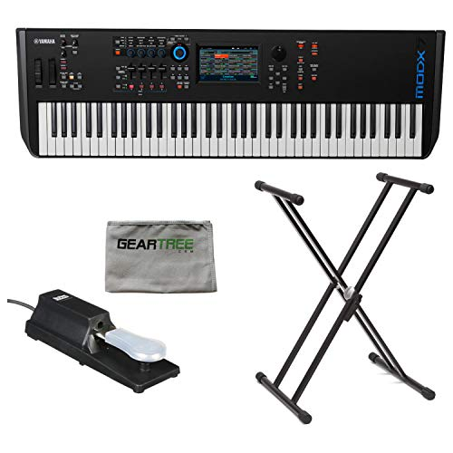Review Yamaha MODX7 76-Key Semi-Weighted Synthesizer Keyboard w/Sustain Pedal, Cleanin