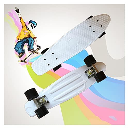 Cinta de agarre de la patineta Patinetas, 22 pulgadas (56 * 15 * 10cm) Pequeño tablero de pescado para niños, tablero de skate Cruiser de arce, incluyendo camiones, ruedas de PU, patrón trasero, rodam