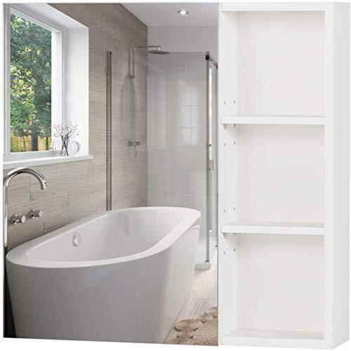 Homfa Armario Baño con Espejo Armario de Pared Armario Cocina Colgante con 1 Puerta 3 Compartimentos Blanco 60x13.5x60cm