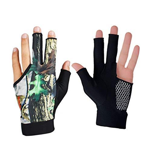 Kaikai Guante de Billar, Piscina de Snooker de 3 Dedos Piscina Cue Glove Transpirable Anti-patín Billar Shooters Guante Adultos Unisex 4 Colores (Color : Camouflage)