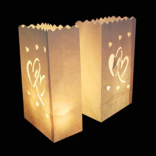 Yalulu 20 Stück Lichttüte Deko Licht Tüte Teelicht Kerze Taschen Candle Bags für Hochzeit Party Dekoration (#2)