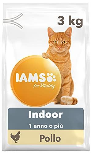 IAMS for Vitality Indoor, Alimento Secco per Gatti Adulti e Anziani da Appartamento con Pollo Fresco, 3 kg
