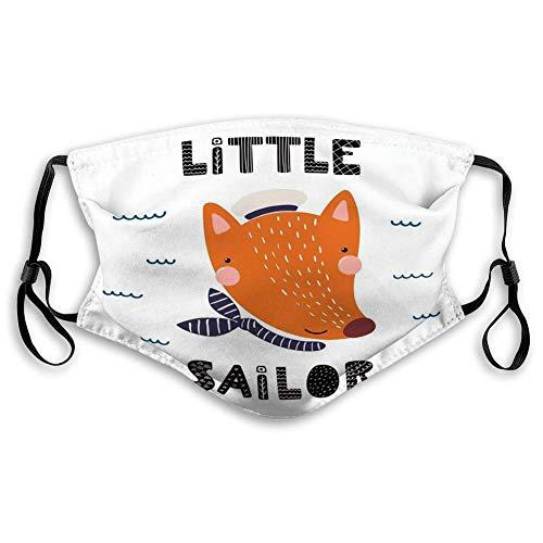 Cover Washable Mouth Face Cover Hand getekend schattige grappige vos zeeman muts halsdoek opschrift citaat kleine zeemann geïsoleerd