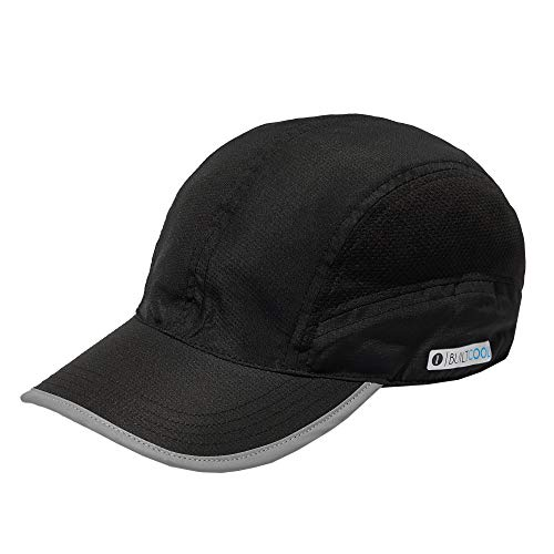 BUILTCOOL Mesh Cooling Baseball Hat - Moisture Wicking Ball Cap for Hot Weather, Running, Tennis, and Golf Solid Black