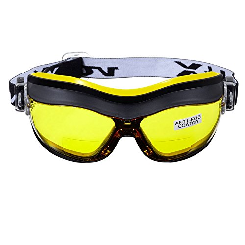 voltX Defender (Amarillo +1.0) Gafas de Seguridad bifocales compactas y ventiladas, Safety Goggles Certificado CE EN166FT, con Revestimiento antiempañamiento