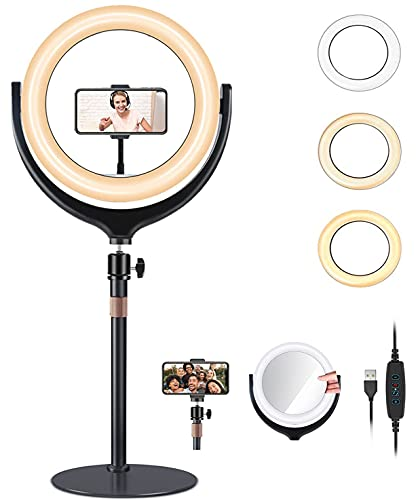 Auckoue 12'' Ring Light with Stand & Phone Holder, Dimmable Selfie Ring Light with Mirror, Desktop led Ring Light for Laptop Computer Video Conference, Live Streaming, YouTube, Vlogging, Makeup