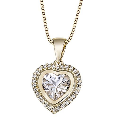 Goldmaid Damen-Collier Herz 585 Gelbgold 30 Diamanten 0,16ct 1 Weisstopas 45cm He C2964GG