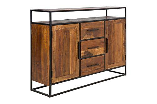 massivum Sideboard Oklahoma 150x105x40  cm aus Akazien-Holz massiv braun lackiert mit 2 Türen und 3 Schubladen Gestell Edelstahl schwarz lackiert