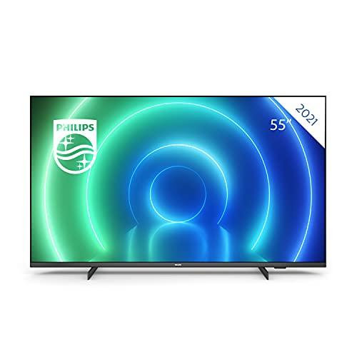 Philips 55PUS7506 12 Smart TV LED 4K da 55 pollici con Immagini HDR, Sistema Dolby Vision Cinematografico e Audio Atmos, Ideale per il Gaming, Compatibile con Google Assistance Alexa, Cornice Opaca