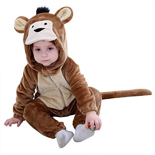 LSERVER Mameluco de Cosplay para Bebés Recién Nacidos Ropa de Arrastre Disfraz Unisexo de Franela con Capucha Estilo Animales, Mono, 70 (Altura Recomendada:59-66cm)