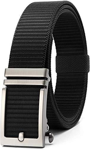 Longwu 2020 nuevos cinturones de trinquete de nylon con hebilla deslizante automática, sin agujeros Cinturón web totalmente ajustable - Para hombres Jeans