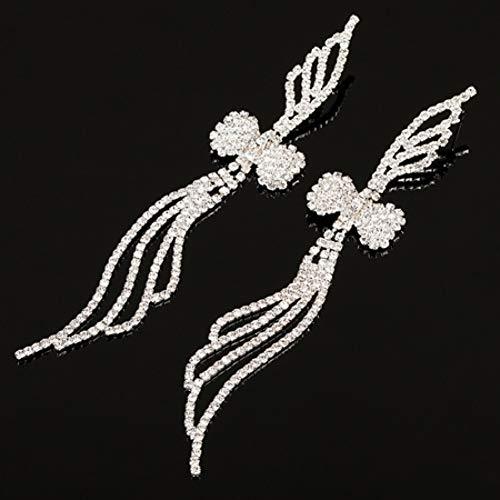 FGFDHJ Pendiente Crystal Good 2 Colores Pendientes Grandes Especiales Largos para Mujeres Accesorios de Fiesta
