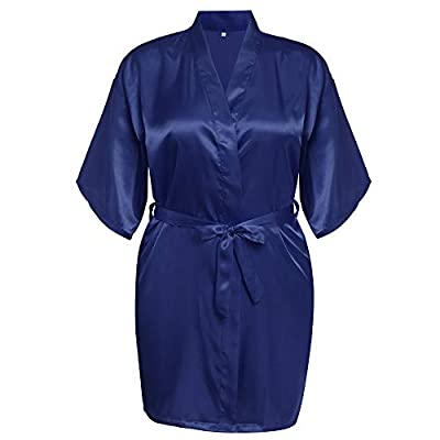AChili Women's Robe Satin Kimono Robes Bridesmaid Short Bathrobe Lightweight Silky Sleepwear