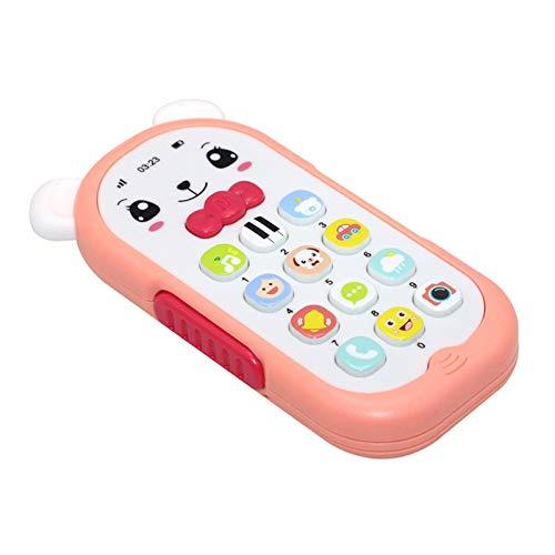 chiwanji Teléfono de Juguete para Niños Aprendizaje Educativo Temprano Teléfono Electrónico Rosa