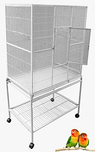 Pet Products Large Wrought Iron Flight Cage with Removable Rolling Stand Bird Cage, 32-Inch by 19-Inch by 64-Inch