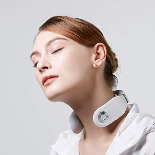 SKG Smart Nackenmassagegerät, Tiefengewebemassage für Nacken mit Hitze, Linderung von Schmerzen in den Halsmuskeln, Steifheit und Müdigkeit, schnurloses tragbares 3D-Massagegerät (Stahlweiß)