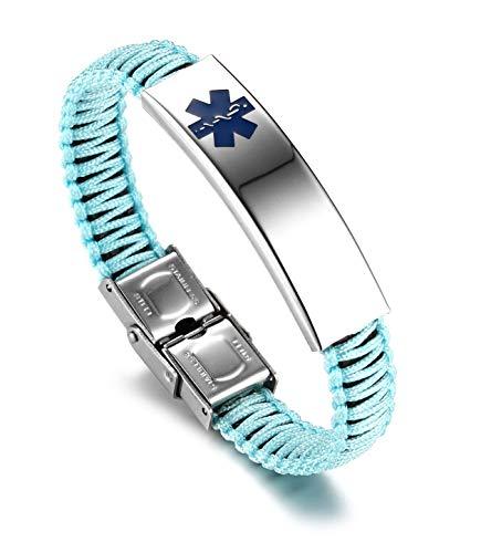 JF.JEWELRY Medical Alert ID Bracelet for Women with Nylon Braid Bracelet Adjustable Free Engraving Cyan