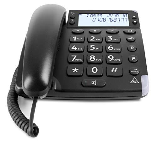 Doro Magna 4000 Teléfono Fijo con Cable para Personas Mayores con Teclas Espaciadas, Pantalla Grande y Sonido Amplificado (Negro) [Versión Española y Portuguesa]