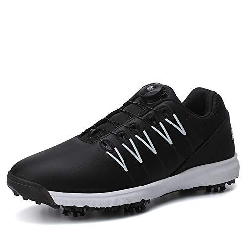 FJJLOVE Zapato De Golf Unisex, Zapato Casual para Caminar Antideslizante Cómodo Absorción De Impactos Zapatos De Entrenador De Golf Botas De Golf Ligeras Sin Púas para Mujeres Hombres,Negro,36