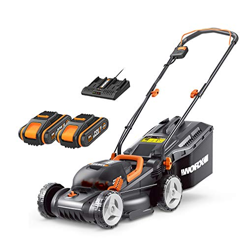 WORX 40V Cordless 34cm Lawn Mower WG779E with 2 x 2.5Ah Batteries & Dual Port Charger, Cutting Height 20-70mm Powershare 30L Grass Bag Cutting Width Up to 280m²
