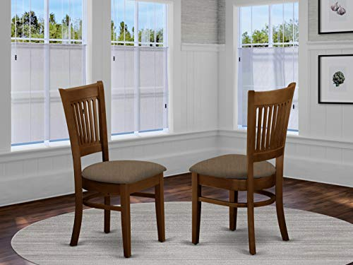 East West Furniture VAC-ESP-C Amazing dining chairs - Linen Fabric Seat and Espresso Solid wood dining chair set of 2