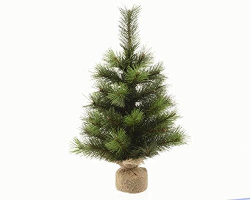 Kaemingk, Mini Albero di Natale Vanvouver con Sacco in Juta, Aghi in PVC, per Uso Interno, Altezza 75 cm