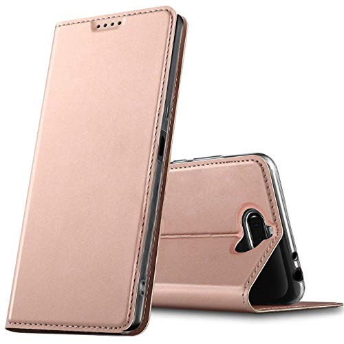 Verco Handyhülle für Xperia 10, Premium Handy Flip Cover für Sony Xperia 10 Hülle [integr. Magnet] Book Case PU Leder Tasche, Rosegold