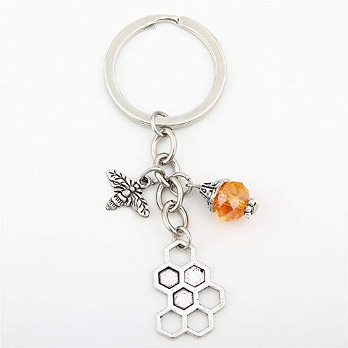 N/A Bee Sleutelhanger Honingraat Met Kraal Sleutelhanger Gift Voor Bee Keeper Honing Bee Sieraden Gift Voor Haar Insect Bedels