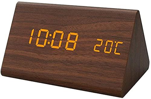 JOK Reloj de Madera LED Reloj de Alarma electrónico con termómetro Digital Calendario Noche Luz de Control de Voz USB Decoración de Escritorio Reloj, Brown