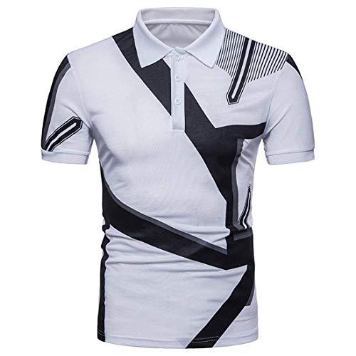 Polohemd heren zomer geometrische stempel polo korte mouwen revers modern casual shirt daily vrije tijd mode sport poloshirt bovenstuk basic