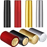 200 Pieces PVC Heat Shrink Capsules Wine Shrink Wrap Wine Bottle Capsules Shrink Caps for Wine Cellars and Home Use (Black, Red, Gold, Silver)