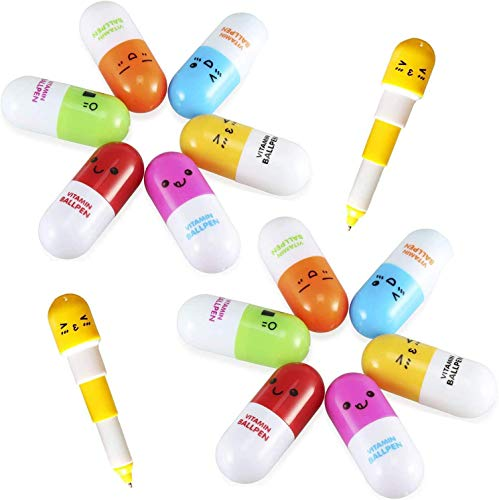 Ouinne 12 Unidades Píldora Form Bolígrafos Retráctiles Forma de Pastillas Capsulas Telescópica