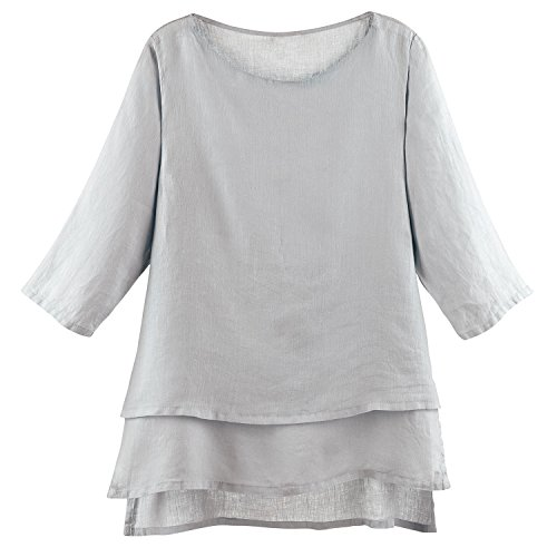 Match Point Women's Tunic Top - Long Layered Linen Blouse with 3/4 Sleeves - Gray Mist - M