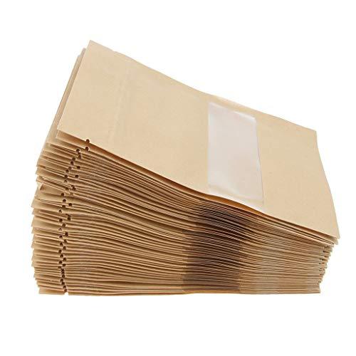B Blesiya 100 Stücke Lebensmittelverpackungen Papiertasche Kraftpapier Einkaufstasche Geschenkbeutel Papier Tüte selbstsicherend 9 x 14 cm