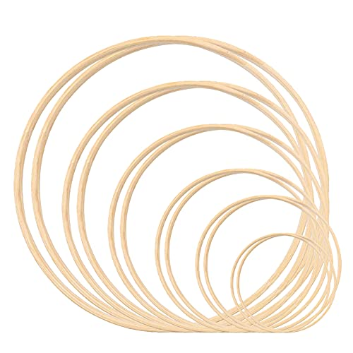 Xionghonglong 12 Anillo de Bambú,Macramé para atrapasueños,Atrapasueños Anillos,Aros Madera Manualidades,Anillos de Bambú Aros,Bordado Círculo,Anillos de Madera para Bricolaje (12 pcs)