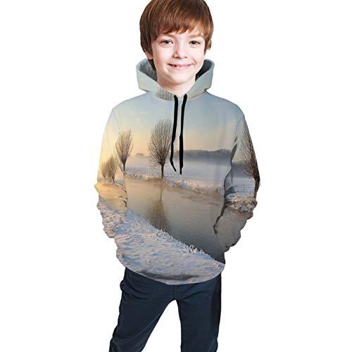 TENJONE Teen Hoodies Fashion Sweatshirts,Snowy River Landscape Barren and Frosted Trees Dutch Netherlands Europe Photograph L