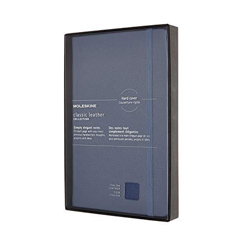 Moleskine Leather Notebook, Taccuino in Pelle Pagina a Righe, Edizione Limitata con Cofanetto e Coperchio, Copertina Rigida, Formato Large 13 x 21 cm, Blu non ti scordar di me, 176 Pagine
