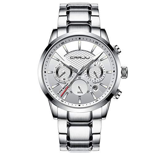 Reloj CRRJU para Hombre Relojes Impermeables para Hombre De 30M Top Brand Luxury Steel Watch Cronógrafo Reloj Masculino (Plata, Oro, Negro),F