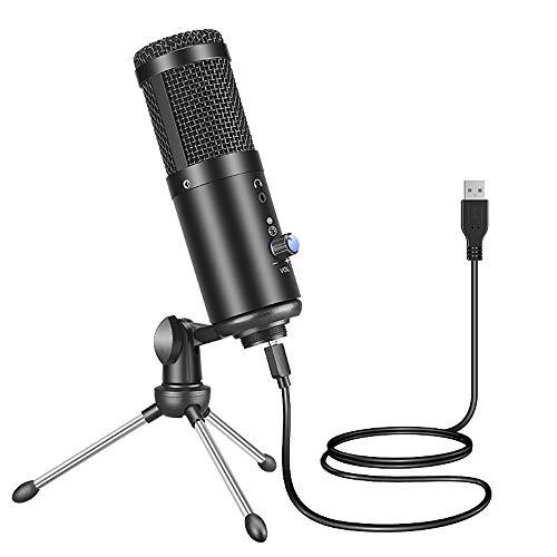 JTAccord Microphone USB, Microphone PC, Microphone de Diffusion F1, pour Enregistrement d'ordinateur Portable Mac, karaoké en Streaming Studio pour Youtube