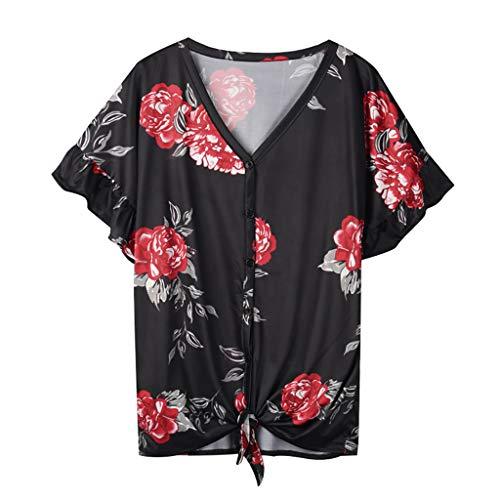 TOPKEAL Blusa de manga corta con cuello en V, parte inferior abotonada, para mujer, verano, elegante, túnica, primavera, estilo casual. Negro S