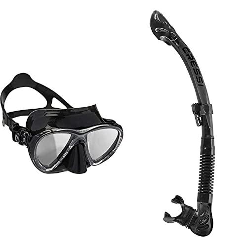 Cressi Big Eyes Evolution - Gafas De Buceo + Epsilon SPE Alpha Ultra Dry Snorkel De Silicona Unisex, Negro/Negro, Talla Única