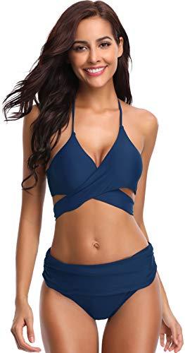 SHEKINI Women's Push-up Halter Bandage Ruched High Waisted Bottoms Bikini Swimsuits (Small, Sapphire Blue)