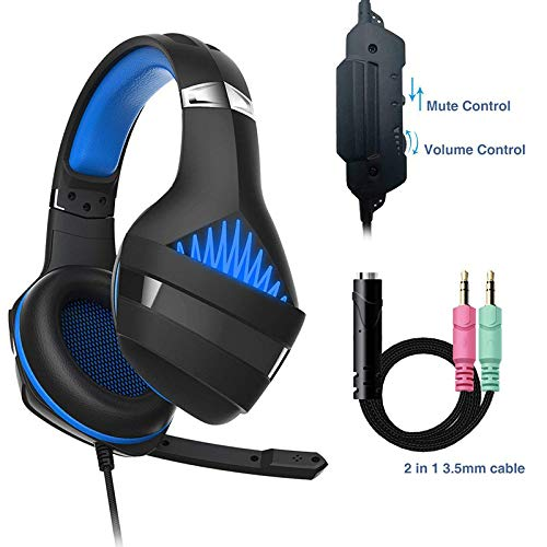 GM-5 Gaming Headphones Hi-Ps4 Gaming Headphones Wired Headphones GM-5 Black and Blue plus Conversion Line