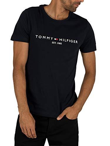 Tommy Hilfiger Herren Core Tommy Logo Tee T-Shirt, Blau (Sky Captain 403), One Size (Herstellergröße: XXXL)