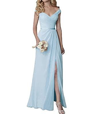 Yilis Elegant V-Neck Chiffon Slit Long Bridesmaid Dress Wedding Evening Dress Blue US14