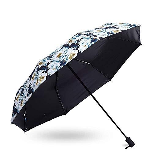 YXDEW Paraguas Plegable de Paraguas Plegable para Mujer Paraguas 210t Parasol Compacto con 99% de protección UV Impermeable Impermeable diseño a Prueba de Viento Moda Paraguas Impermeable