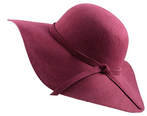 Urban GoCo Donne Ragazza Cappello di Lana Tesa Larga in Feltro Bombetta Fedora Cappello Floscio Cloche (Vino Rosso)