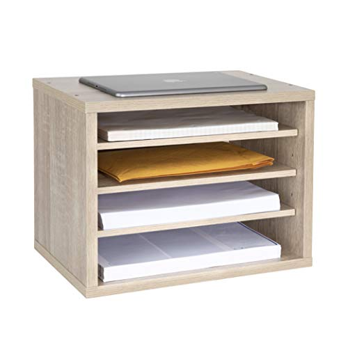 Adir Wood Paper File Organizer - Letter Mail Sorter Holder Construction Paper Storage - Stackable 3 Shelves Desk Literature Drawer for Home, Office, Classroom and More (MEO)